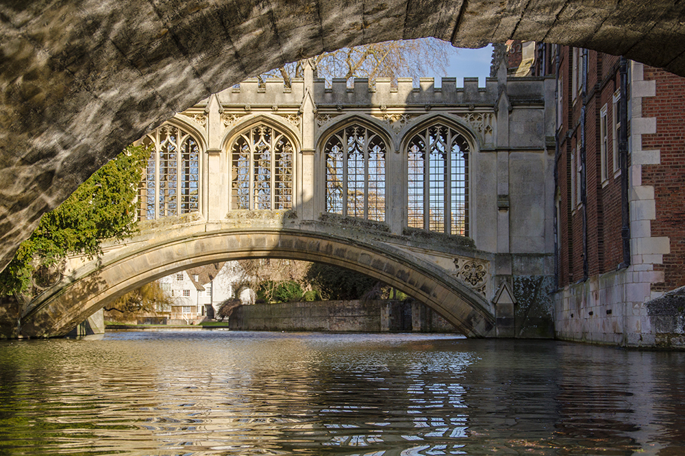 The graceful Bridge of Sighs in Cambridge.