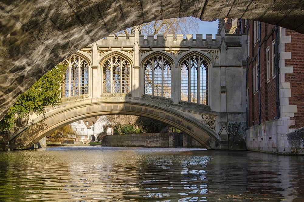 The graceful Bridge of Sighs in Cambridge.