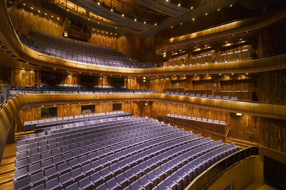 The impressive auditorium of Ireland's state-of-art National Opera House, opened in 2008.
