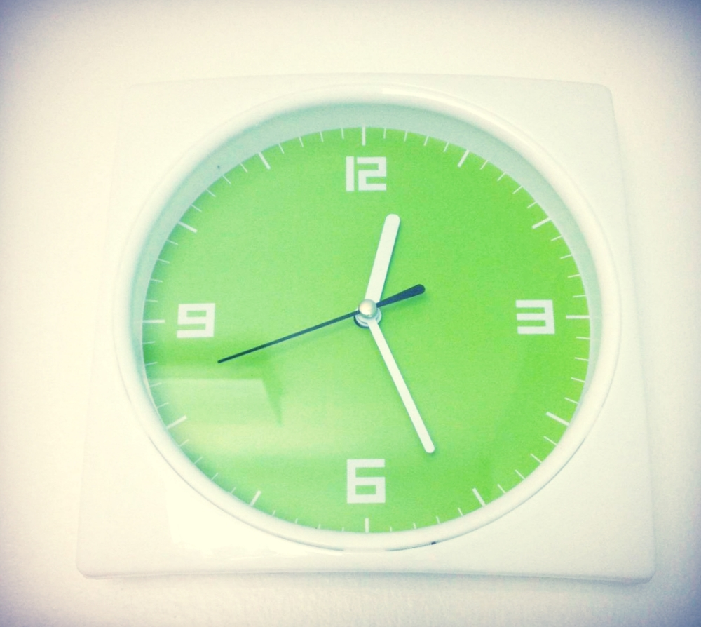 My adorable clock ($1.50 from Daiso!) reminds me when it's time to call it a day.