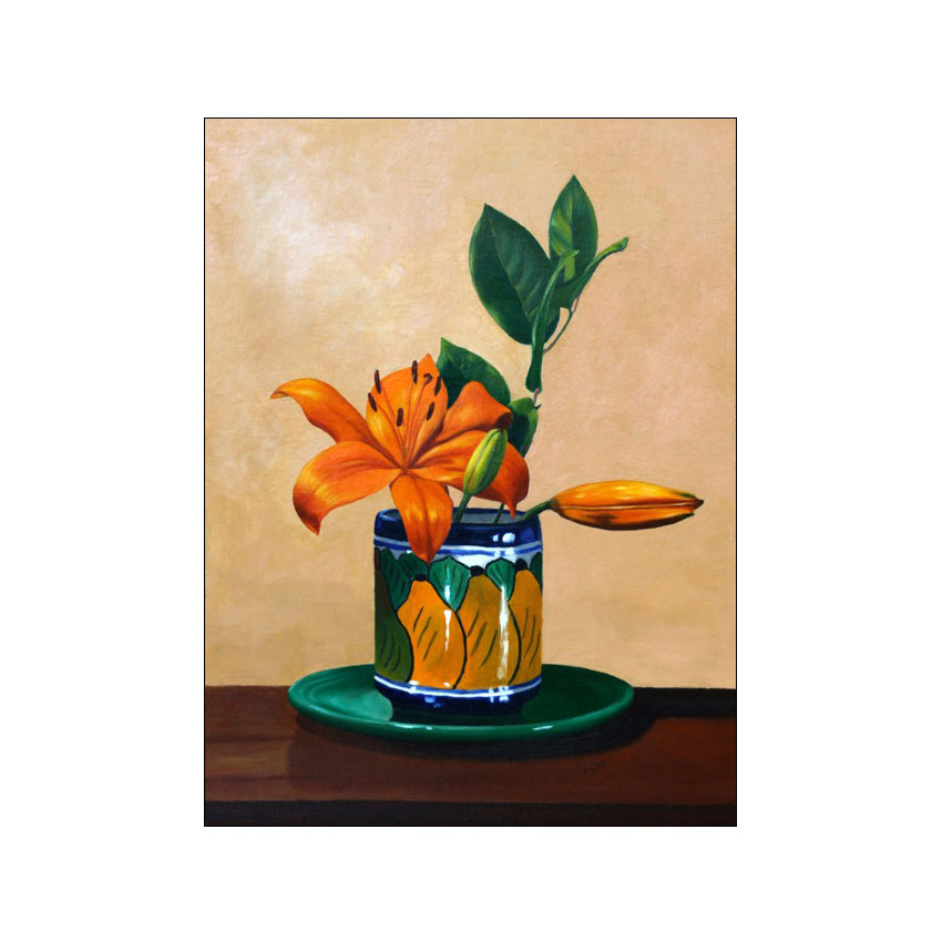 Mexican Jar With Lily - Original Available