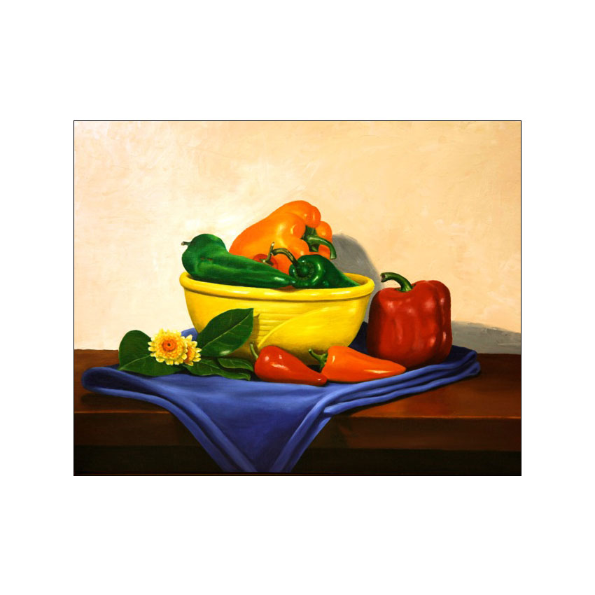 Peppers With Yellow Bowl - Original Available