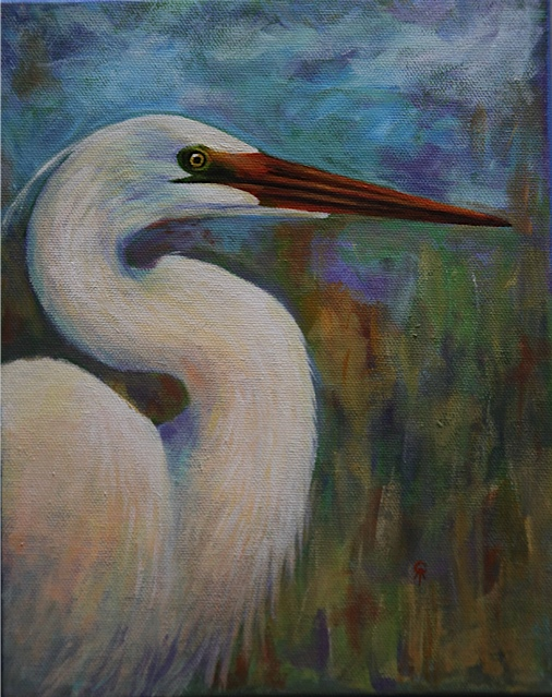 "Egret 10"" x 8"" acrylic on canvas"