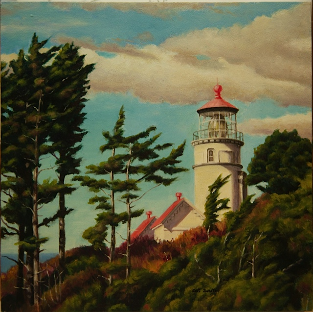 "Heceta Head Lighthouse 8"" x 8"" oil on board"