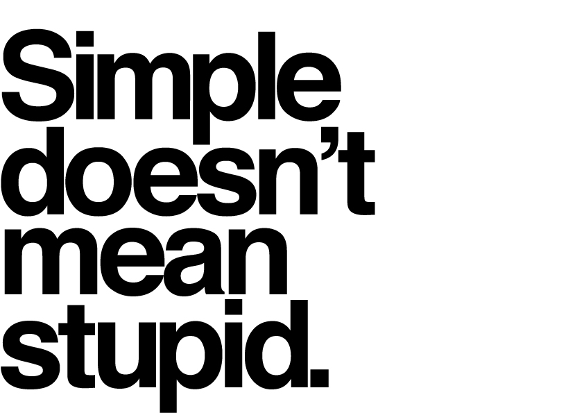 Typographic image saying keep it simple, with reference to business copywriting.