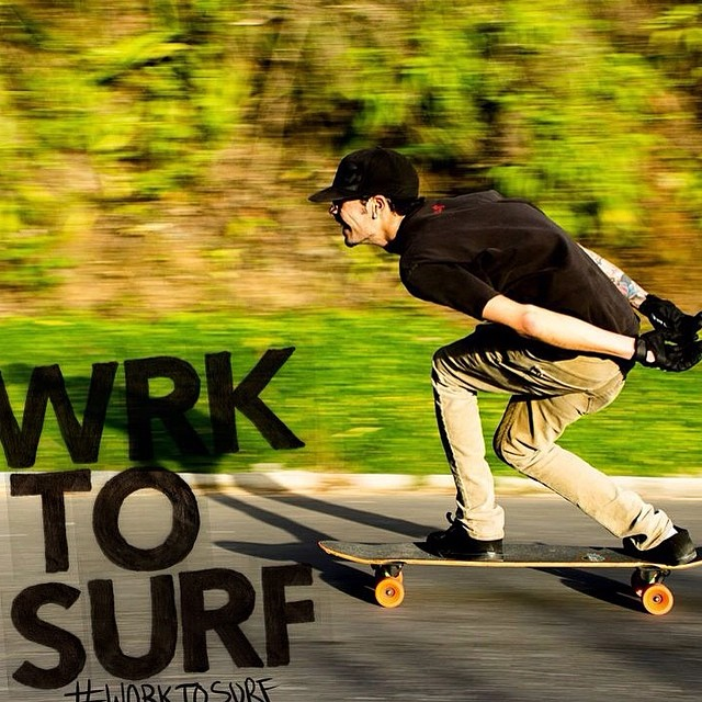 Surfer/Skater Luigi Sipala, Graphic Designer from Caracas, Venezuela killing it downhill. #worktosurf