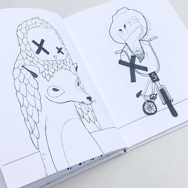 Here is Paul Meates @wasnotme second run of 'Hehehe Doodle' now avail.  70 page cloth bound colouring-in book. $45us includes postage anywhere in the world. Reply 'Doodle' if you want me to hook you up.  #hehe #doodle