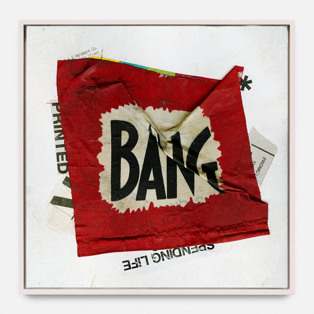 BANG  (2017) Mixed Media on Wood Panel,  Framed  50 x 50 inches One of a Kind $ 3,000.00 |  *SOLD