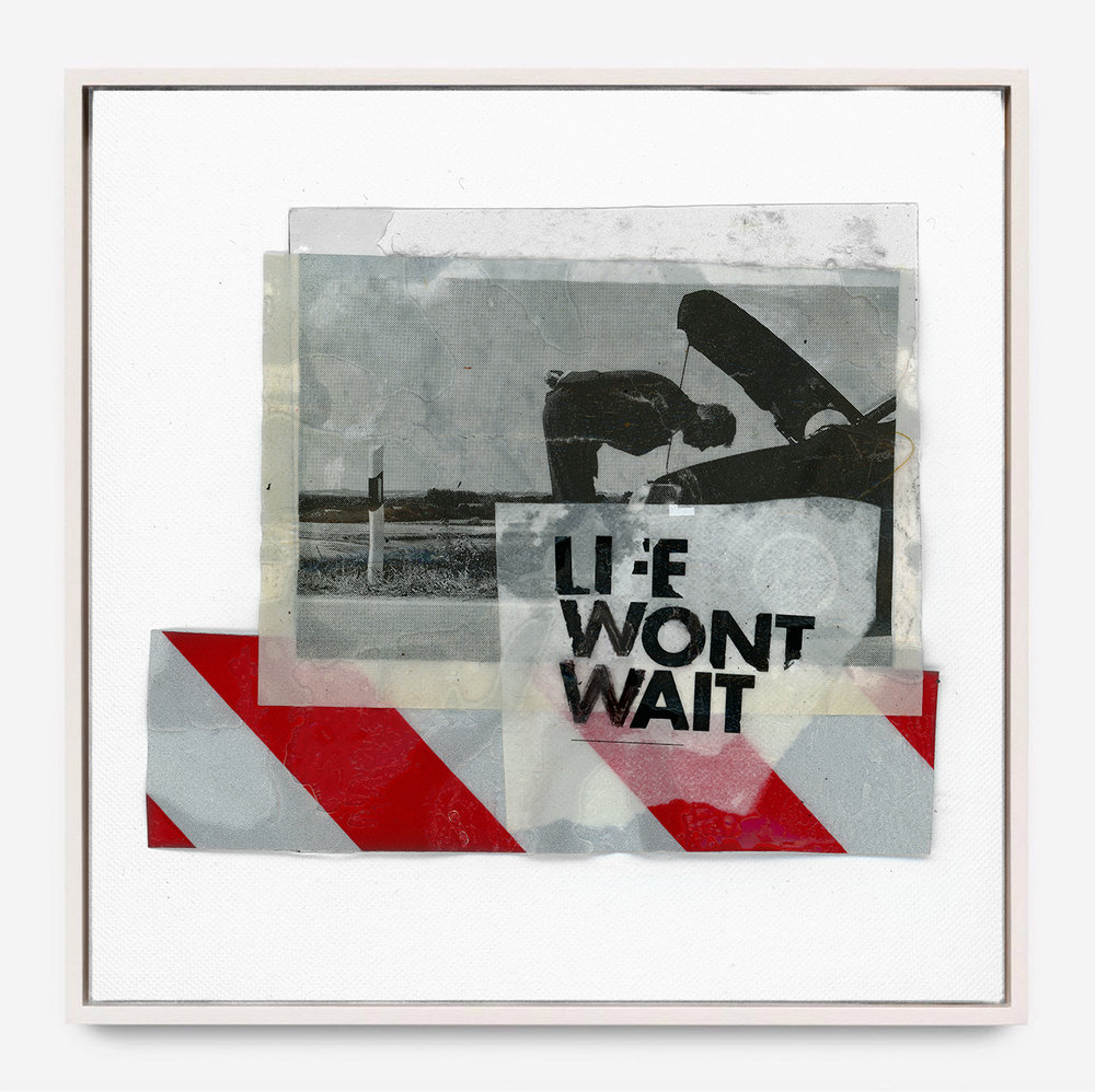 LIFE WONT WAIT  (2018) Mixed Media on Wood Panel 40 x 40 inches One of a Kind $ 1,500.00