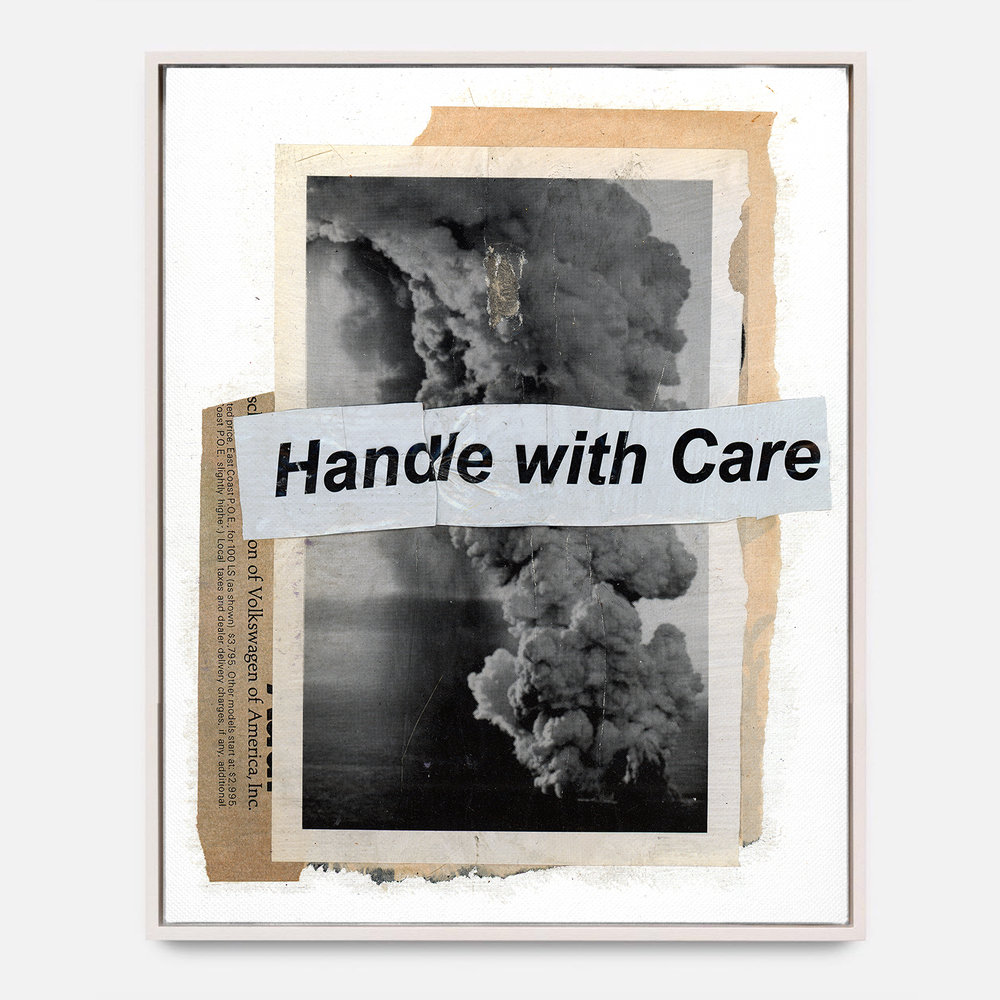 HANDLE WITH CARE  (2017) Mixed Media on Wood Panel 48 x 60 inches One of a Kind $ 2,500.00