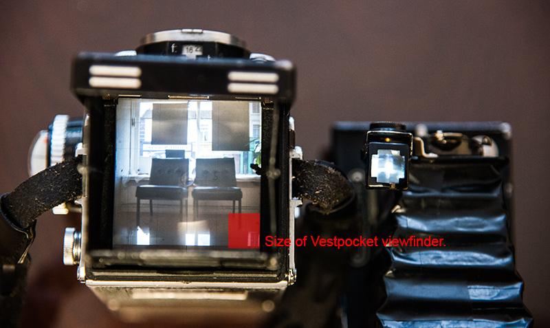 View finder of Rolleiflex 1953 compared to Vest Pocket Kodak 1916.