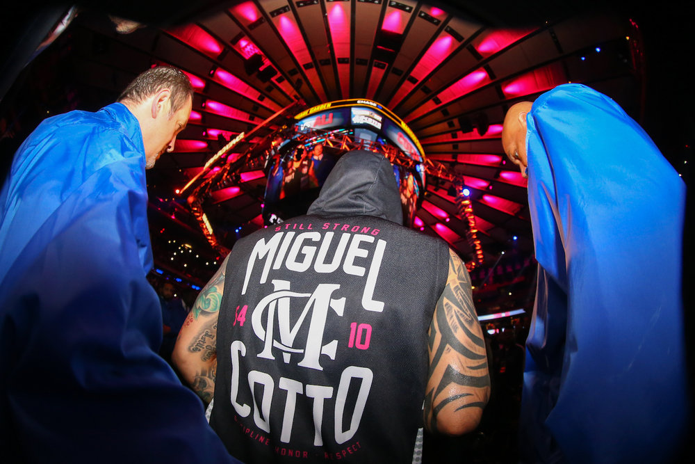 Miguel Cotto enters the ring for the final time. Madison Square Garden, New York City. December 2, 2017