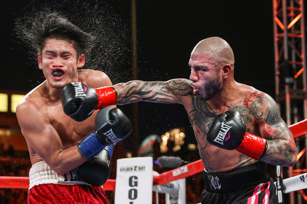 Miguel Cotto lands a powerful punch against Yoshihiro Kamegai Cotto vs. Kamegai, Carson, California. August 27, 2017.