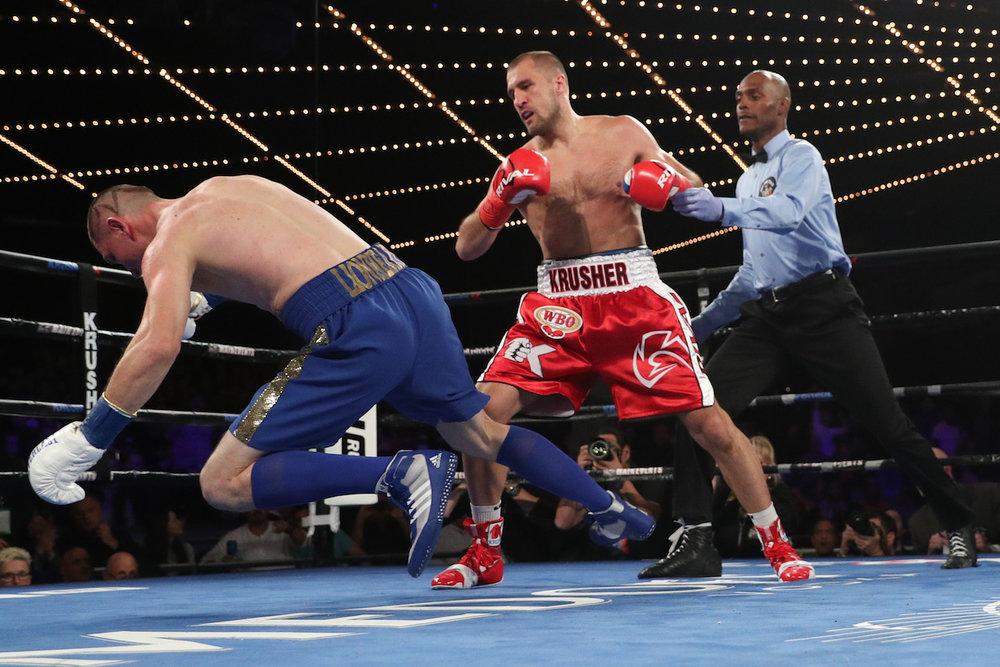 Sergey Kovalev sends Vyacheslav Shabranskyy to his knees. The Theater at Madison Square Garden,New York City.November 25, 2017.