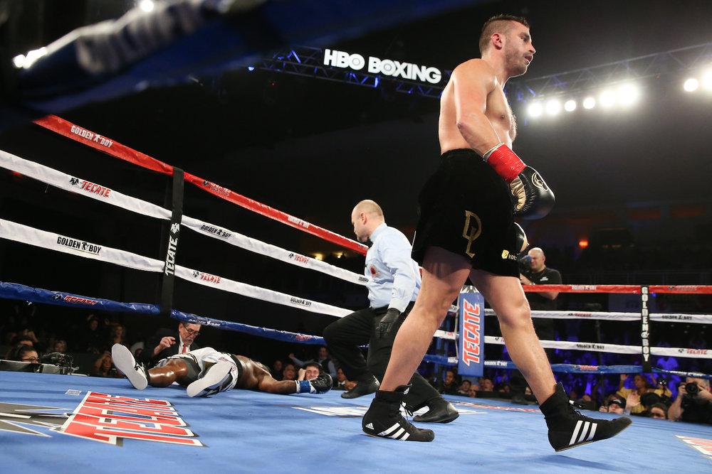 David Lemieux strolls to his corner after KO-ing Curtis Stevens. Turning Stone Resort & Casino, Verona, New York. March 11, 2017.