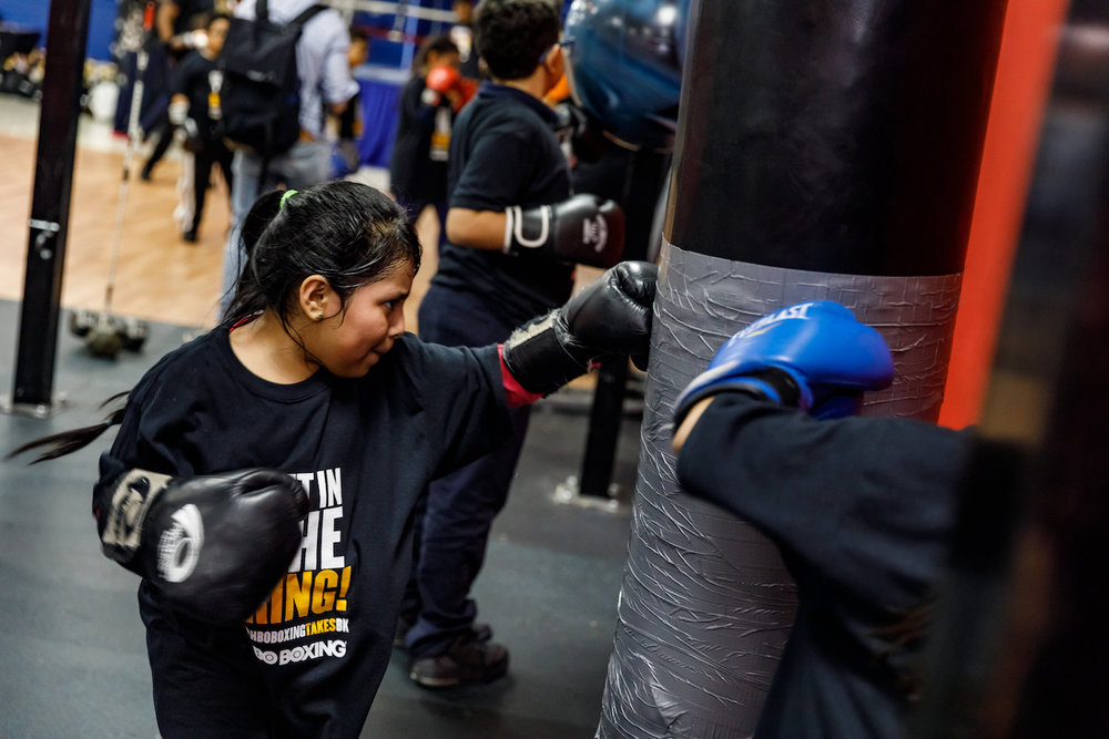 girl practices jab International boxing and fitness.jpg