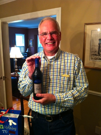 My father showing off some wine (2005 Casa Lapostolle Clos Apalta) we had laid down in the cellar. He did not pull out anything nearly this cool for my first taste of wine!