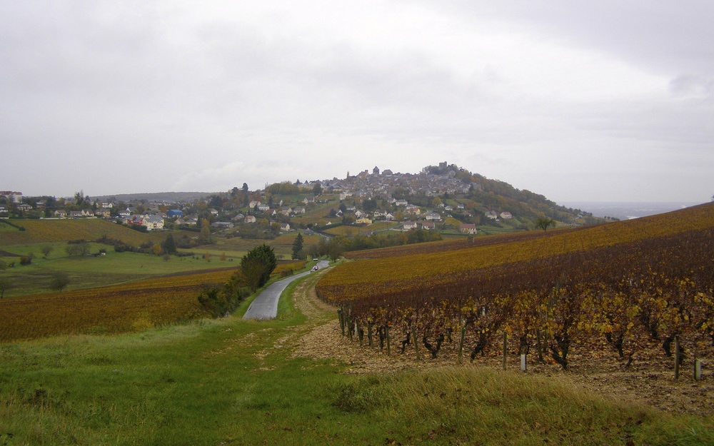 Looking up at the village of Sancerre, from my trip in November 2014.
