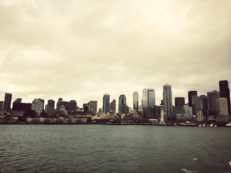 Ferryboat ride to Bainbridge Island . Looking back at the downtown .
