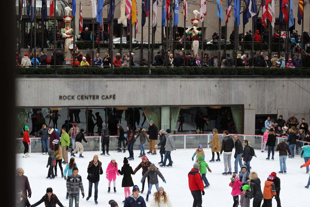 Ice skating at Rockefeller Center is a must! The massive Christmas tree was being prepped for its lighting ceremony.