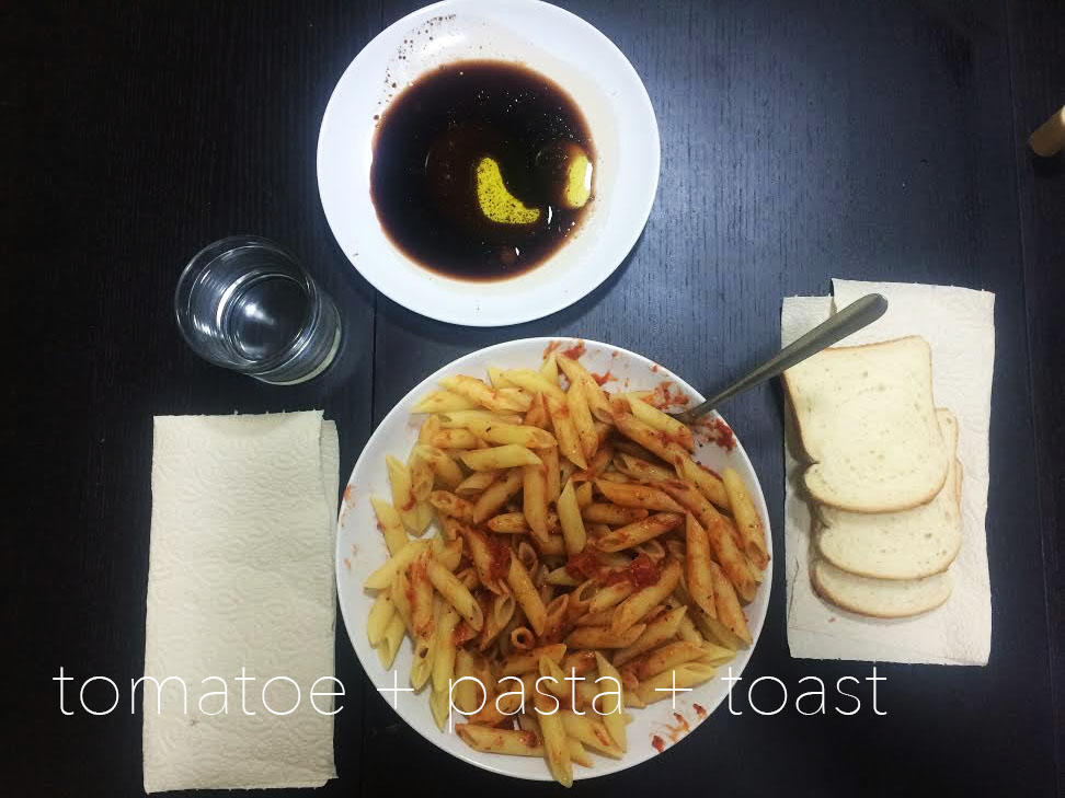 """^ This is your standard """"me"""" meal. I am a girl of simple taste and lazy cooking demeanor so I stick to the pasta and tomato basil sauce with toast and balsamic."""