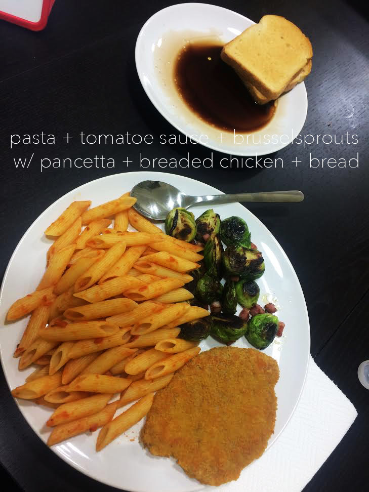 """^ This is yet another """"me meal"""". I absolutely love my breaded chicken patties with a side of pasta and brusselsprouts. While this may look like a carbohydrate overload it is definitely necessary when you're walking an average of 7 miles each day."""