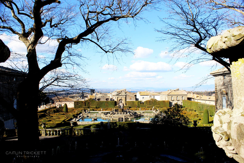^ Looking back towards the fountain and front gardens of Villa Lante. The small town is to the foreground.