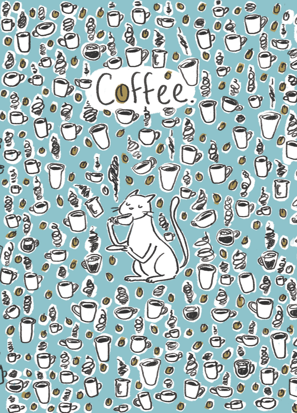 Coffee Cat Pattern