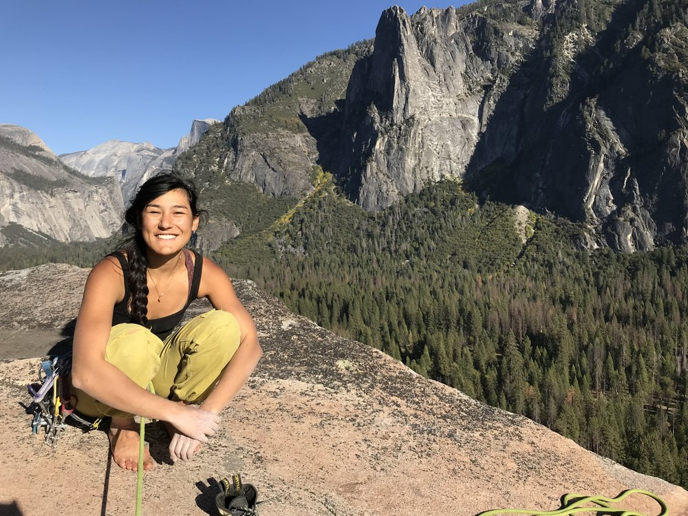 Oma climbing in beautiful Yosemite National Park