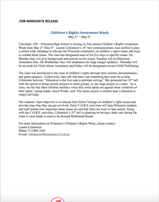 Children's rights press release