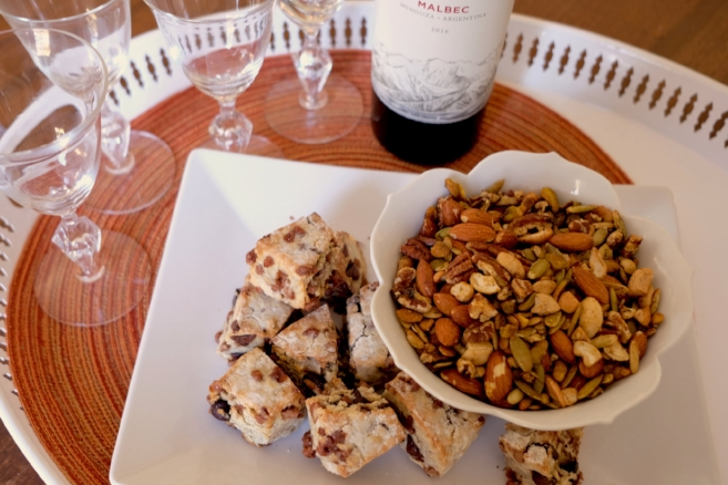 Spiced nuts, sweet scones and a glass of red wine and you'll be the toast of the party! Be sure to cook your scones while you are preparing your recipe to have it all ready at the same time.  You can prepare the nuts ahead and once cooled store in an airtight container.