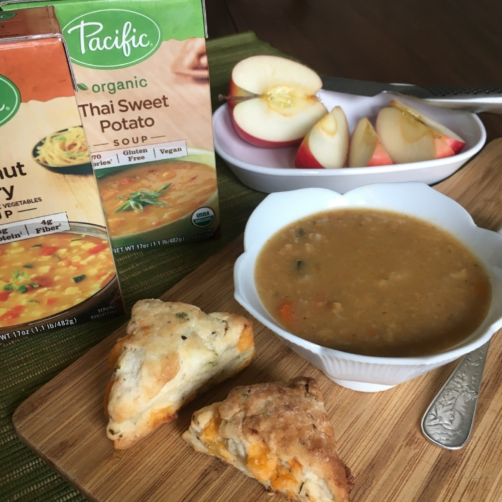 Coconut Curry Soup with Bacon Cheddar Scones and Apples
