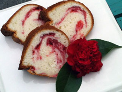 Strawberry & Basil Swirl Pound Cake