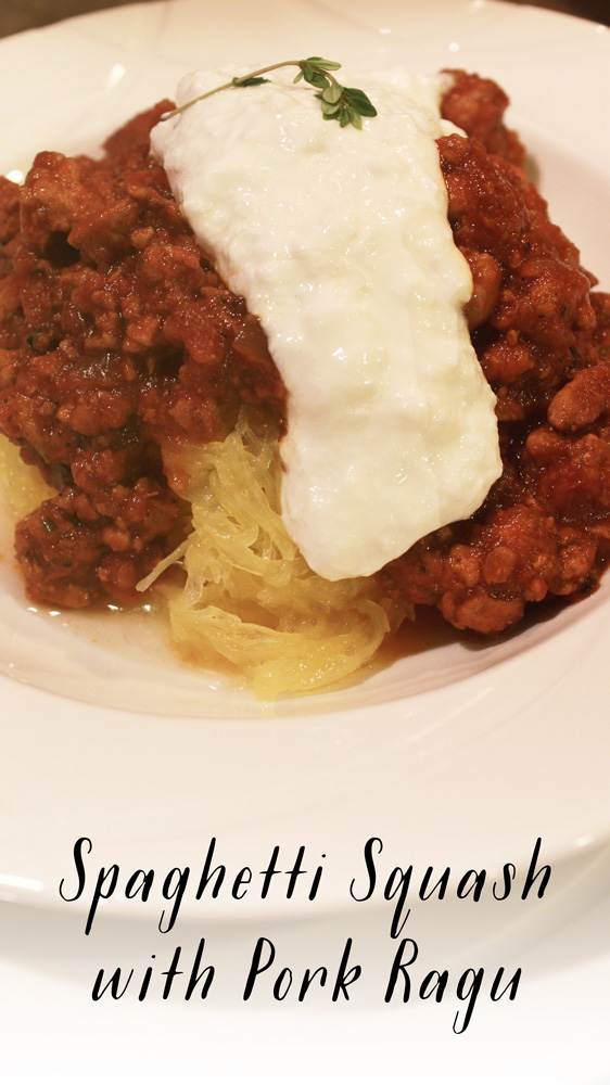 Spaghetti Squash with Pork Ragu adapted from The Newlywed Cookbook | SavoryPantryBlog.com