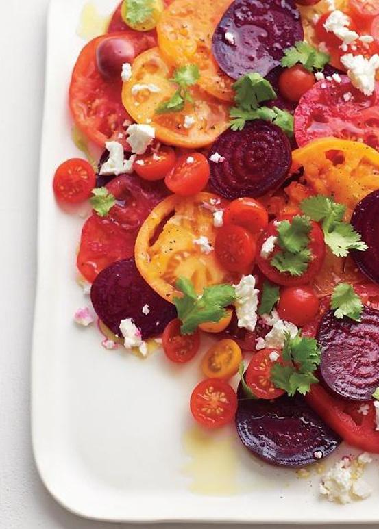 Tomato Beet Salad | NationalSalad Month | SavoryPantryBlog.com