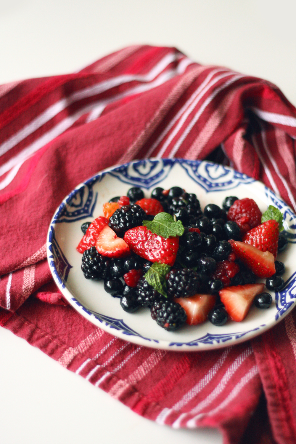 A chilled Lavender Infused Berry Salad makes a great starter or a dessert