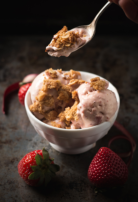 Roundup: Cooled Down Summer Foods | Strawberry Rhubarb Ice Cream | SavoryPantryBlog.com