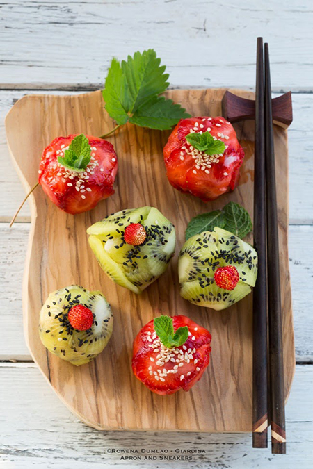 Roundup: Cooled Down Summer Foods | Fruit Sushi | SavoryPantryBlog.com