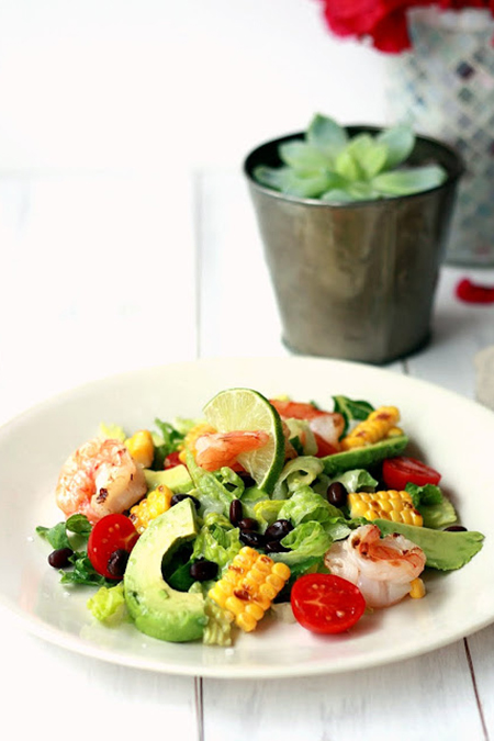 Roundup: Cooled Down Summer Foods | Fiesta Grilled Shrimp & Corn Salad | SavoryPantryBlog.com