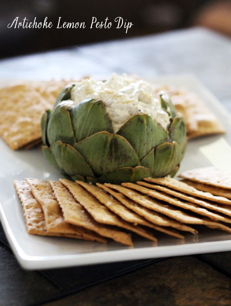 Recipe: Artichoke Lemon Pesto Dip in an Artichoke Dipping Bowl ...