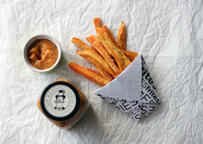 Sweet Potato Fries with Sea Salt & Chipotle Mayo Dipping Sauce | SavoryPantryBlog.com