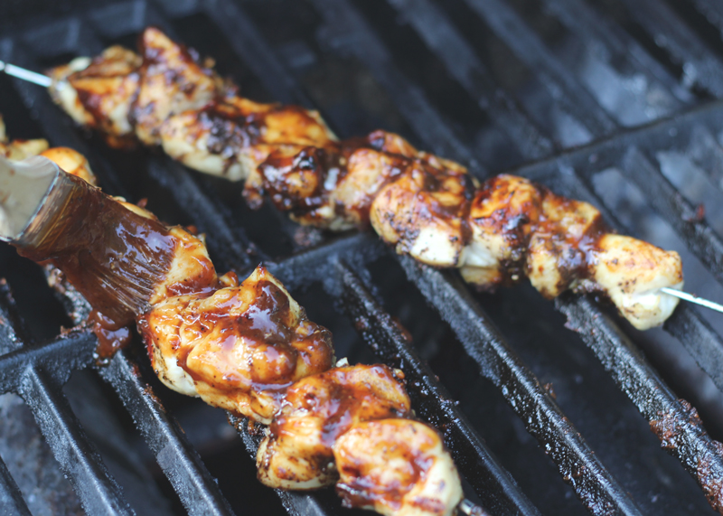 Dark and Moody BBQ Chicken Skewers | SavoryPantryBlog.com