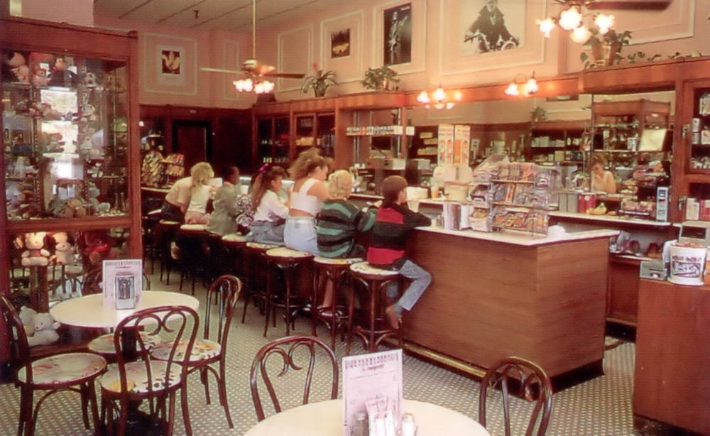 Soda Fountain at The Majestic Hotel, Hot Springs, AR where my grandfather used to take me for soda and ice cream treats (circa 1980s, I suspect, judging by the theatrical hair and the Dexters on the kid closest to the camera). Courtesy Garland County Historical Society.