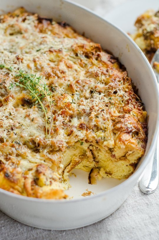 "Make-Ahead ""Ham & Cheese"" Breakfast Casserole, Recipe and Image via www.thekitchn.com"