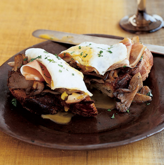 Wild Mushroom Toasts with Ham and Fried Eggs, Recipe and Image via Food & Wine