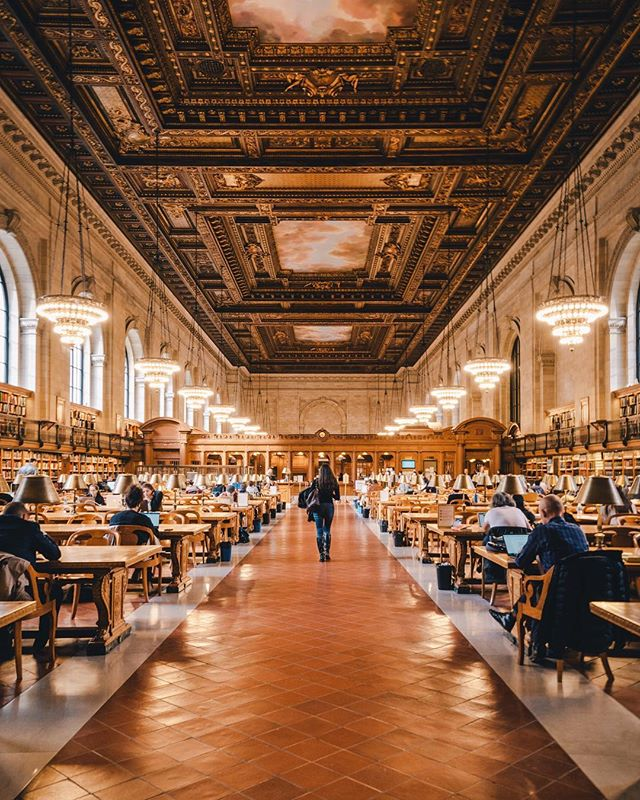 "[The Rose Main Reading room of Silence] • Contemplar a arquitetura clássica com o silêncio é possível dentro da famosa sala de leitura ""The Rose Main Reading Room"", na NYC Public Library. Este, definitivamente, foi um dos mais belos interiores que já fotografei. . Contemplating classical architecture with silence is possible inside the famous ""The Rose Main Reading Room"" at the NYC Public Library. This was definitely one of the most beautiful interiors I have ever photographed."