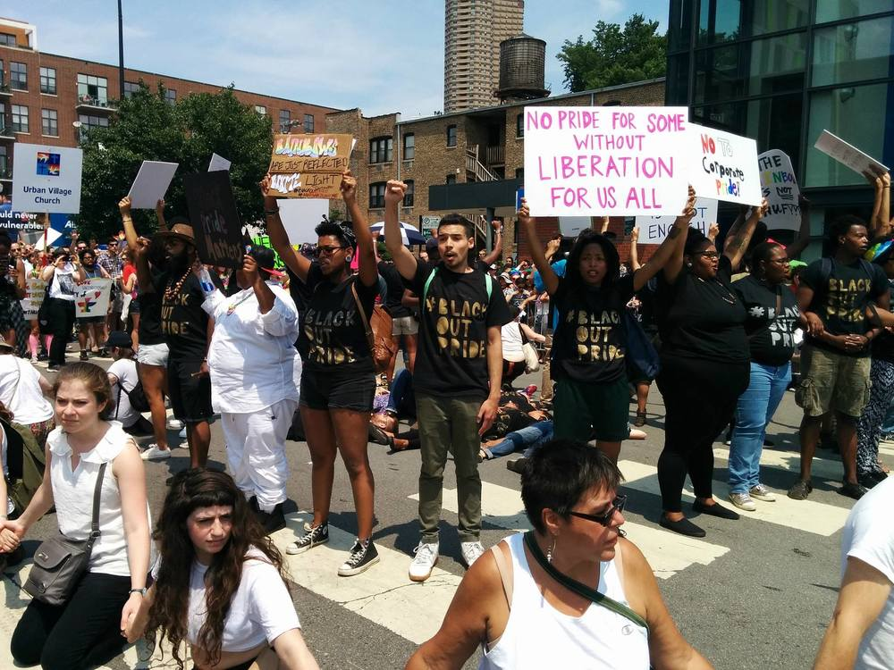 #BlackOutPride: Black queer and trans community and allies interrupt the 2015 Chicago Pride Parade