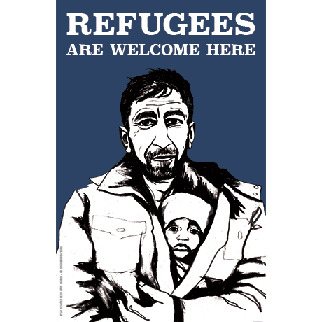 Refugees Welcome poster man and child