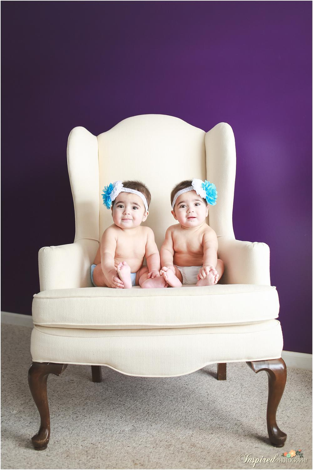 6 month twin photography // www.inspiredphotographystl.com