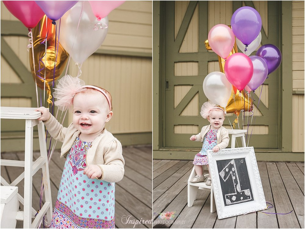 First Year Photos, 1st Birthday Child Family Photography, Old Town St. Charles, MO // www.inspiredphotographystl.com